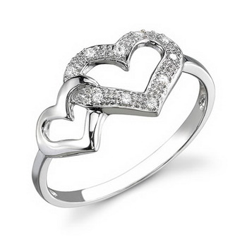 Cara Silver and Swarovski Stone Dual Hearts Ring for Women