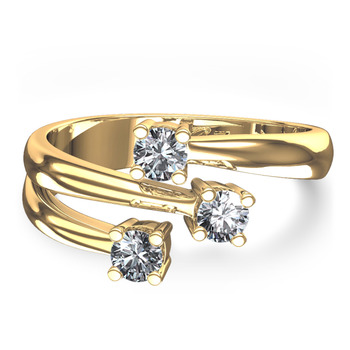 Cara Light Rays Pure Silver and Swarovski stone with gold polish ring for Women