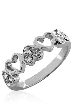 Cara sterling silver and  certified Swarovski stone Heart Me Ring