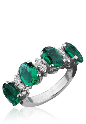 Cara sterling silver and  certified Swarovski stone Bold Green Ring