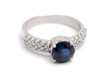 Cara sterling silver  Blue Stone and Swarovski studs Ring