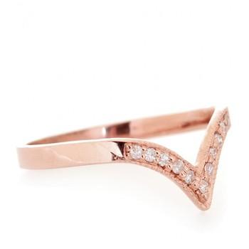 Cara sterling silver and  certified Swarovski stone Rose Gold V Ring