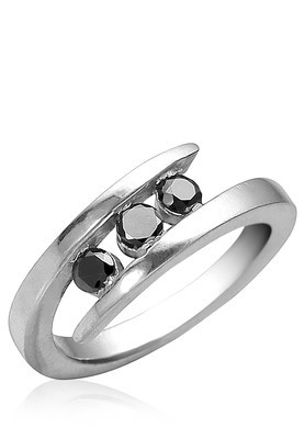 Cara sterling silver and  certified Swarovski stone Black Stone and Silver Ring