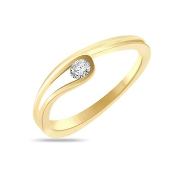 Cara sterling silver and  certified Swarovski stone Stud of my heart in gold polish ring for Women