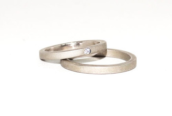 Cara  sterling silver and  certified Swarovski stone  Battered Love Couple Bands