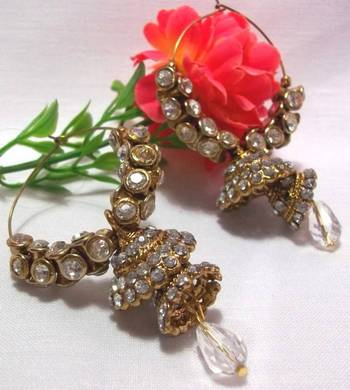 Golden white stone double jhumki earrings