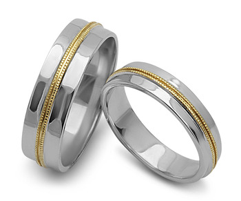 Cara sterling silver and  certified Swarovski stone Silver and Gold lining couple bands