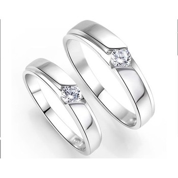 Cara sterling silver and  certified Swarovski stone Silver and Stud couple Bands