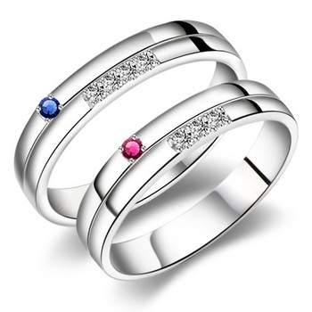 Cara sterling silver and  certified Swarovski stone Blue for Him and Pink for Her couple bands
