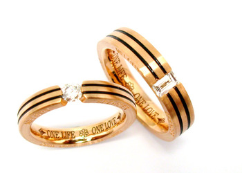 Cara sterling silver and  certified Swarovski stone Gold Polish with Black Lining Couple Bands