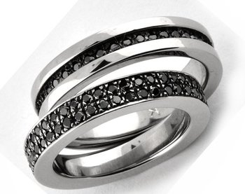 Cara Black Studs Pure Silver Couple Bands