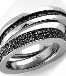Buy Cara Black Studs Pure Silver Couple Bands  engagement-gift online