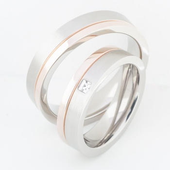 Cara sterling silver and  certified Swarovski stone Subtle Love Couple Bands