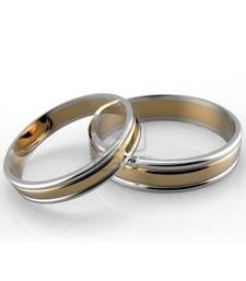 Buy Cara sterling silver and  certified Swarovski stone Gold and Silver Lined Couple Bands engagement-gift online