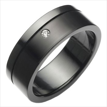 Cara sterling silver and  certified Swarovski stone Black and Swarovski Stud Ring for Men