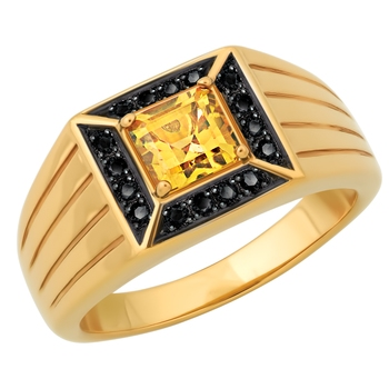 Cara sterling silver and  certified Swarovski stone Rose Gold with Black Studs and Yellow stone Ring for Men