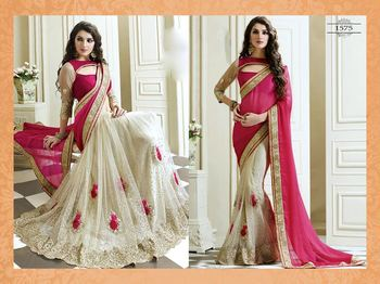Pink embroidered saree with blouse