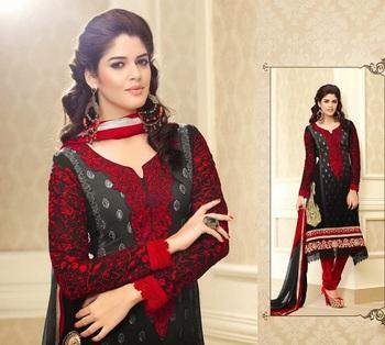 Luscious Black & Red Embroidery Salwar Kameez