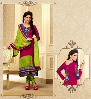 Exquisite Pink & Lime Embroidery Salwar Kameez