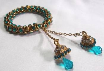 Golden Sea Blue  jhumka bracelets