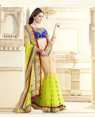 Darzilling Cream Net New Designer Saree