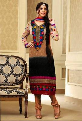 Exotic Black and Chiku Embroidery Salwar Kameez