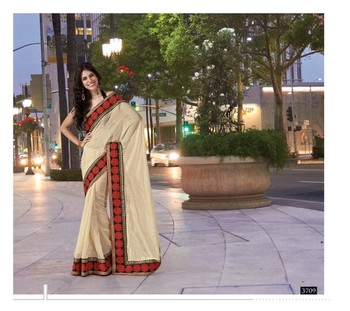 NeelFab Beige Tussar silk Saree-3709
