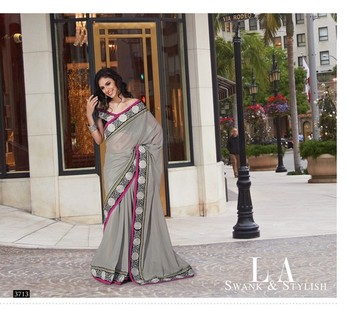 NeelFab Grey Georgette Saree-3713
