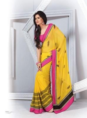 NeelFab Yellow Georgette Printed Saree-6602