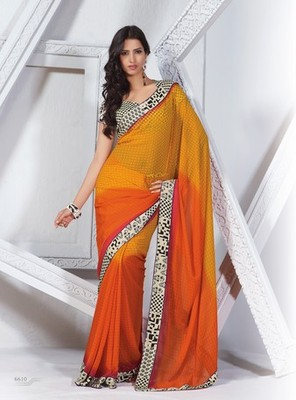 NeelFab Orange-Yellow Georgette Printed Saree-6610