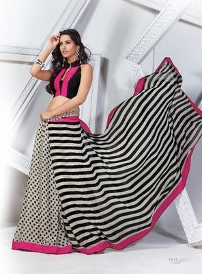 NeelFab Black-White Georgette Printed Saree-6618
