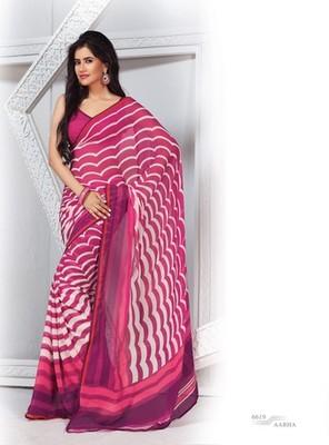 NeelFab Pink Georgette Printed Saree-6619