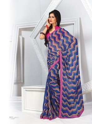 NeelFab Blue Georgette Printed Saree-6623