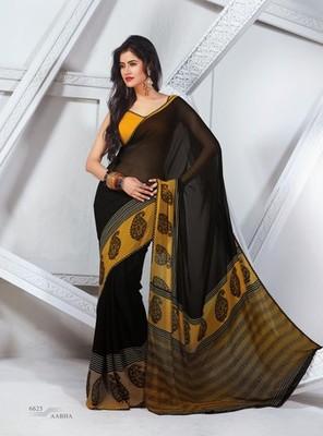 NeelFab Black Georgette Printed Saree-6625