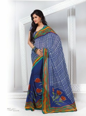 NeelFab Blue Georgette Printed Saree-6627