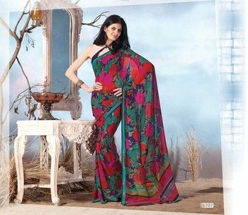 NeelFab Green-Red Georgette  Printed Saree-6707