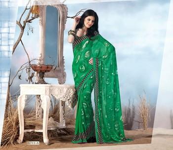 NeelFab Green Georgette  Printed Saree-6711-A