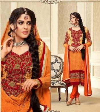 Classy Orange Embroidery Salwar Kameez