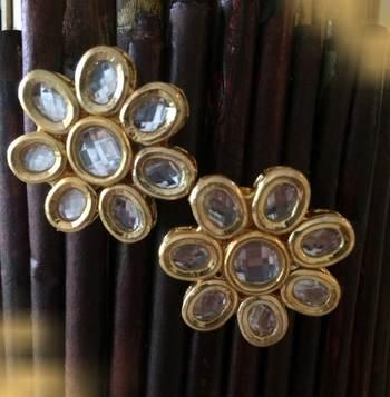 Kundan Flower Studs