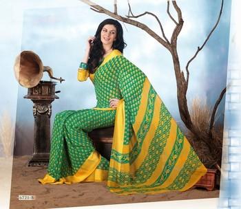 NeelFab Green Chiffon Printed Saree-6721-B