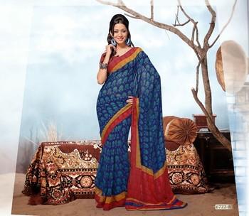 NeelFab Blue Georgette  Printed Saree-6722-B