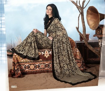 NeelFab Black Georgette  Printed Saree-6724