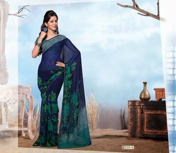 NeelFab Blue Georgette  Printed Saree-6725-A