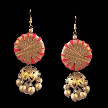 Red Gota Jewellery Jhumka