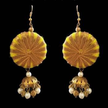 Yellow Gota Jewellery Jhumka