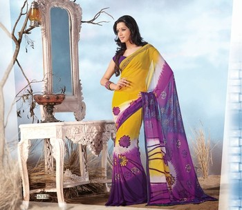 NeelFab Yellow-Magenta Georgette  Printed Saree-6732