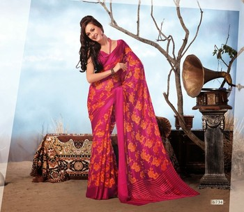 NeelFab Pink Chiffon Printed Saree-6734