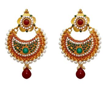 Buy fashion new stone studed with ruby green polki chandelier fashion new stone studed with ruby green polki chandelier earrings aloadofball Choice Image