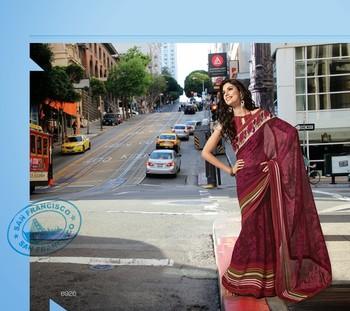 NeelFab Magenta Georgette Printed Saree-6926