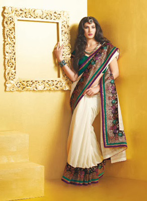 Lovely Of White BhagalPuri With Heavy Border Saree